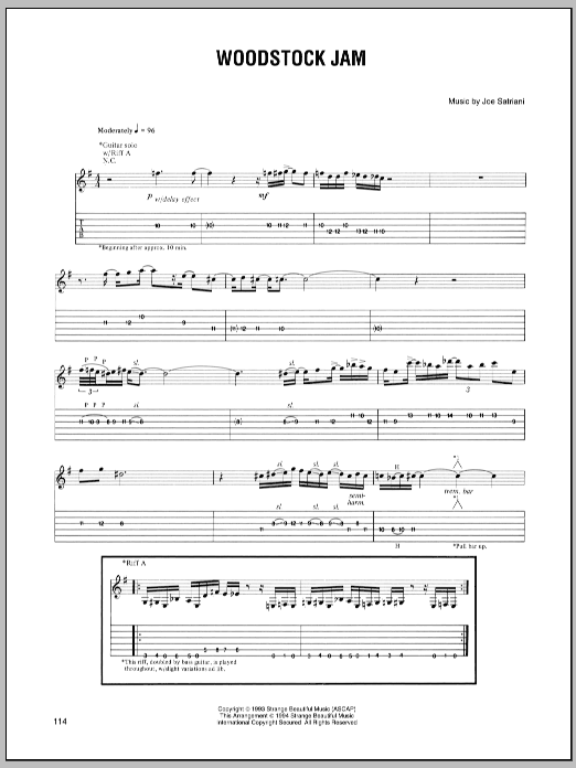 Joe Satriani Woodstock Jam sheet music preview music notes and score for Guitar Tab including 1 page(s)