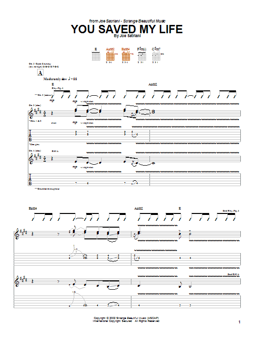 Joe Satriani You Saved My Life sheet music preview music notes and score for Guitar Tab including 18 page(s)