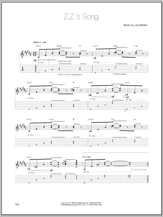 Joe Satriani Z.Z.'s Song sheet music preview music notes and score for Guitar Tab including 2 page(s)