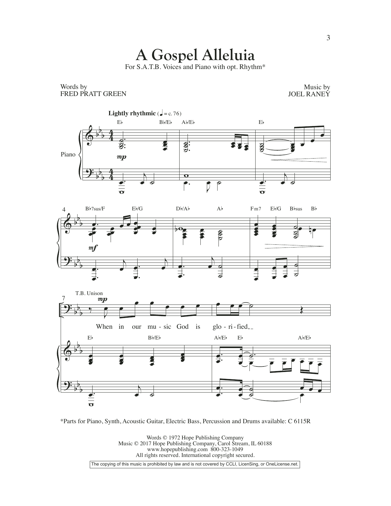 Joel Raney A Gospel Alleluia sheet music preview music notes and score for SATB Choir including 10 page(s)