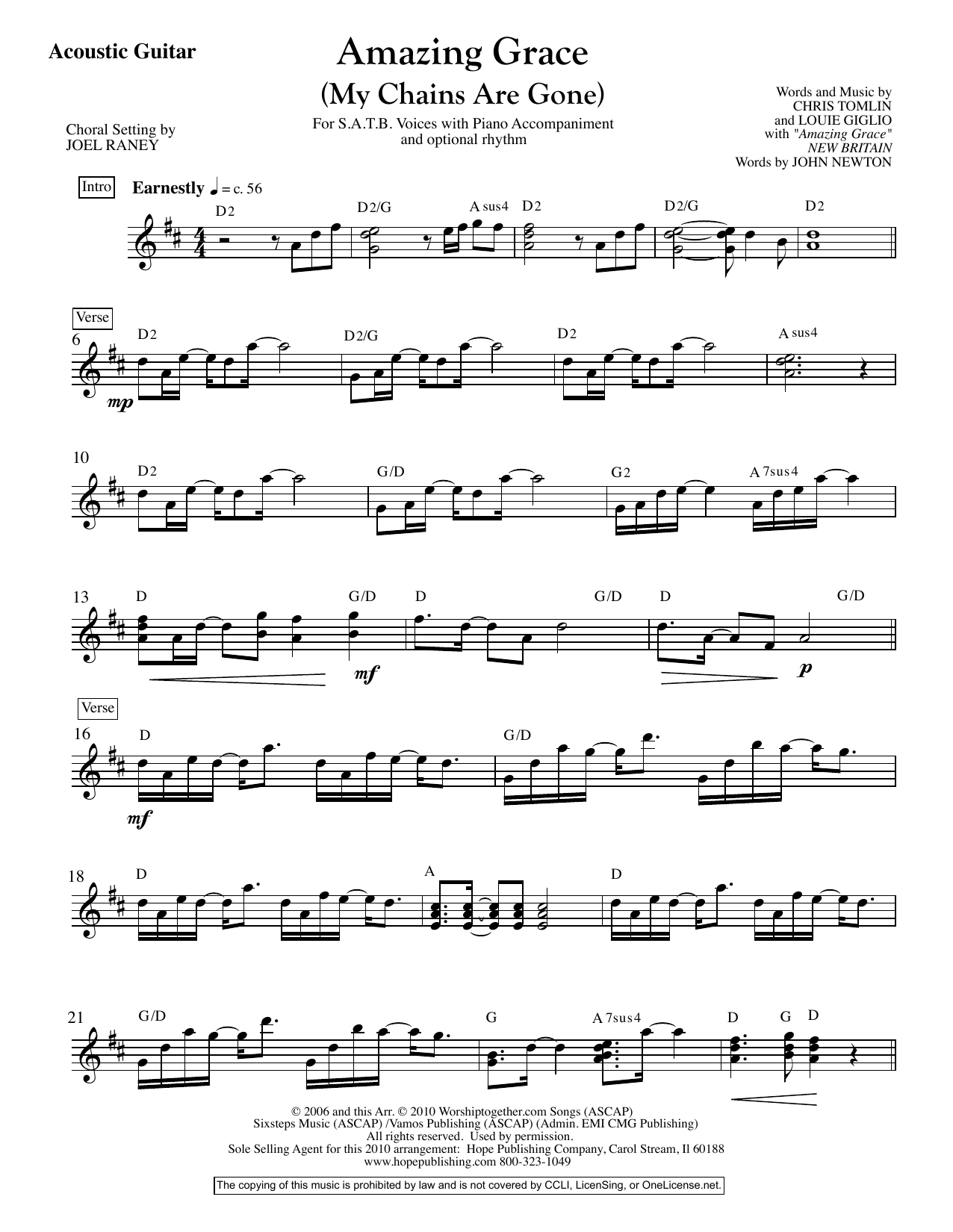 Joel Raney Amazing Grace (My Chains Are Gone) - Acoustic Guitar sheet music preview music notes and score for Choir Instrumental Pak including 2 page(s)
