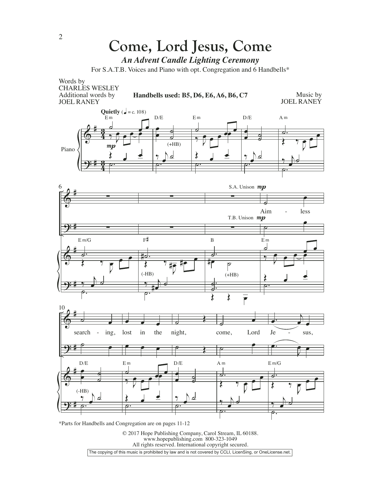 Joel Raney Come, Lord Jesus, Come sheet music preview music notes and score for SATB Choir including 11 page(s)