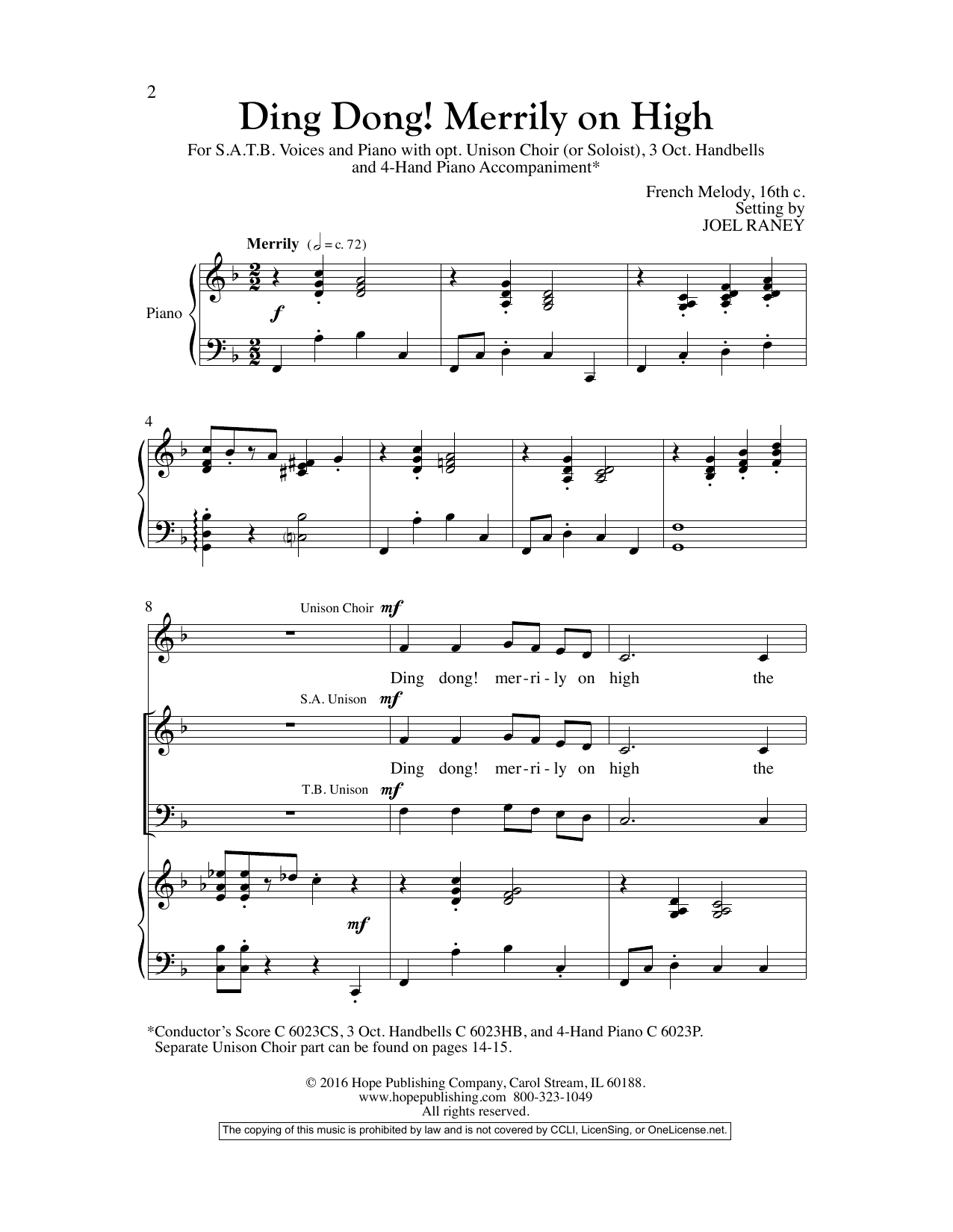 Joel Raney Ding Dong! Merrily On High sheet music preview music notes and score for SATB Choir including 14 page(s)