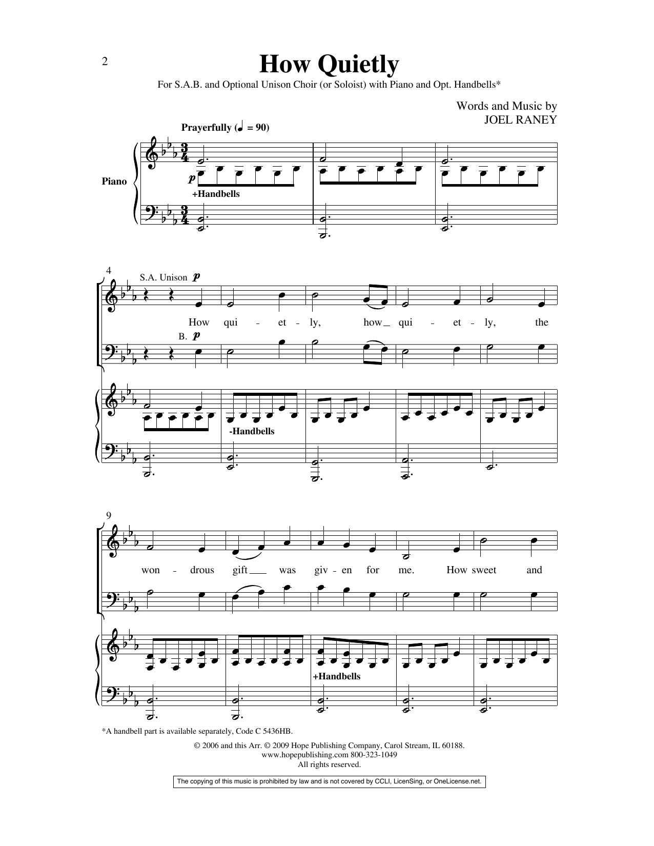 Joel Raney How Quietly sheet music preview music notes and score for SAB Choir including 8 page(s)