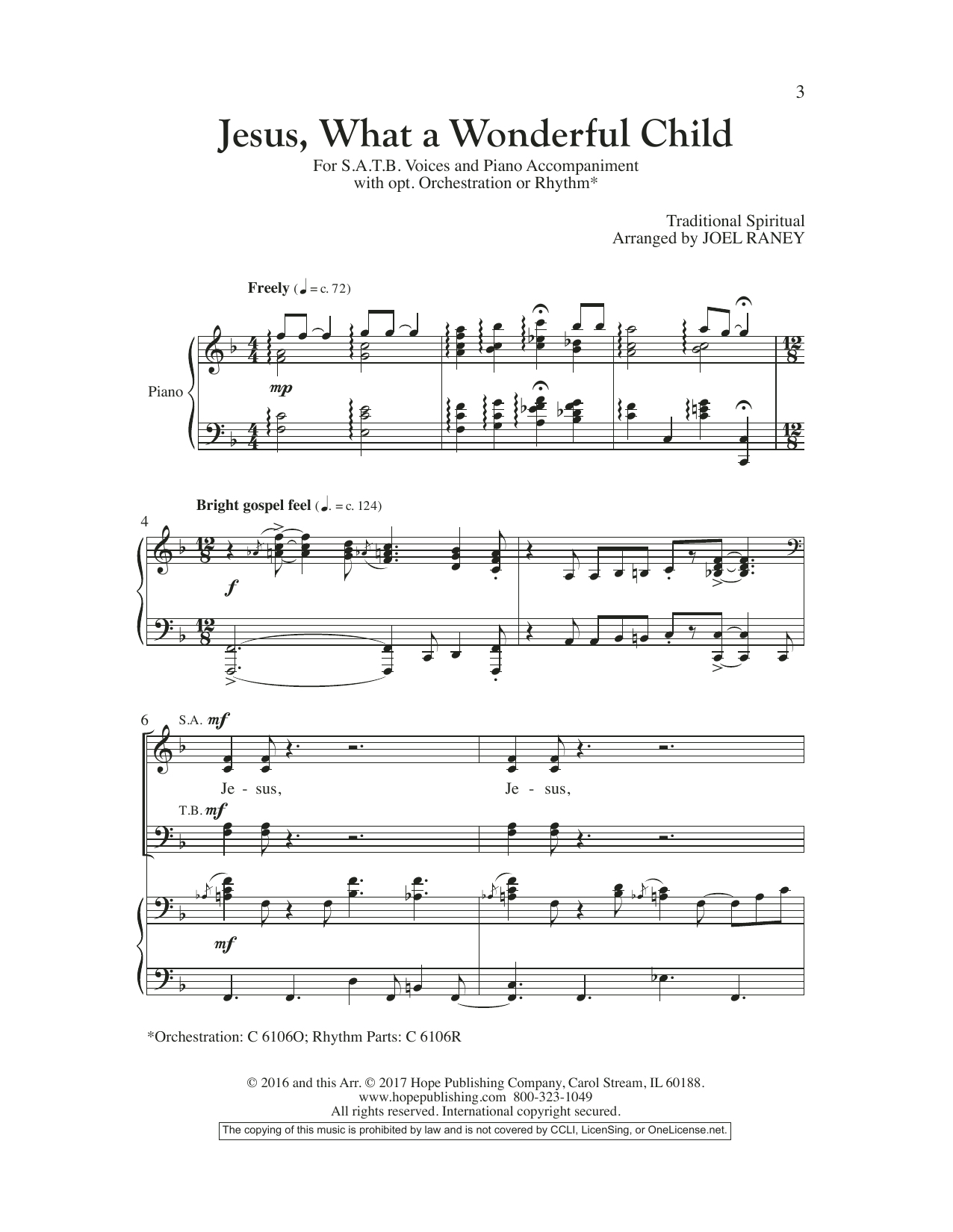 Joel Raney Jesus, What a Wonderful Child sheet music preview music notes and score for SATB Choir including 14 page(s)