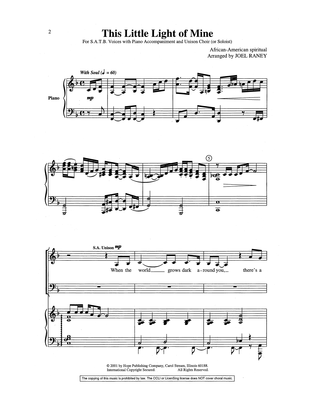 Joel Raney This Little Light of Mine sheet music preview music notes and score for SATB Choir including 11 page(s)