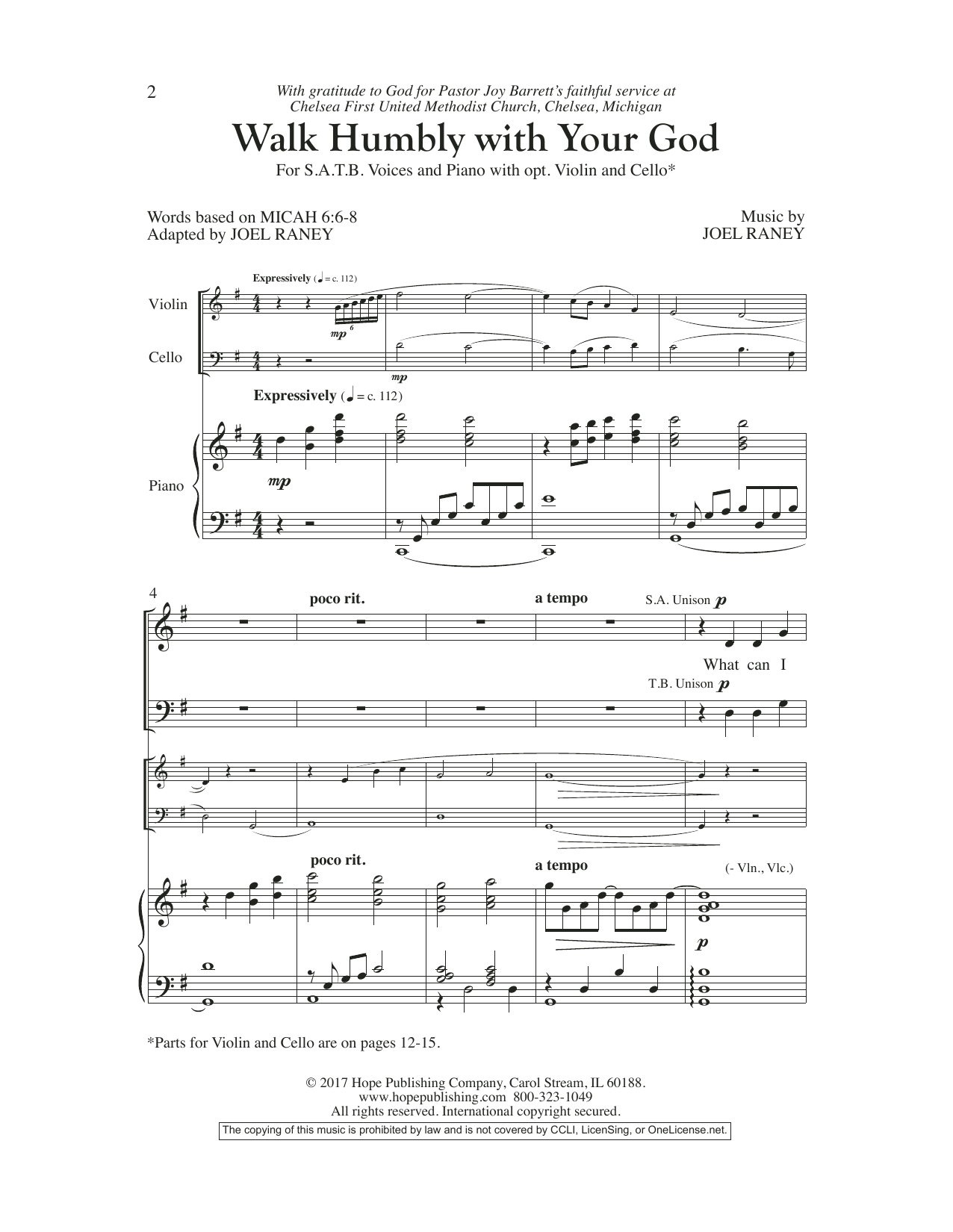Joel Raney Walk Humbly With Your God sheet music preview music notes and score for SATB Choir including 16 page(s)