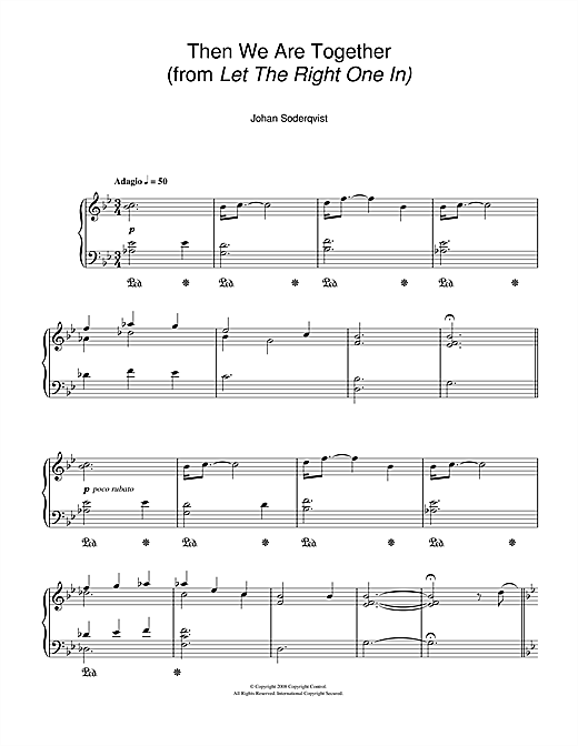 Johan Soderqvist Then We Are Together (from Let The Right One In) sheet music notes and chords