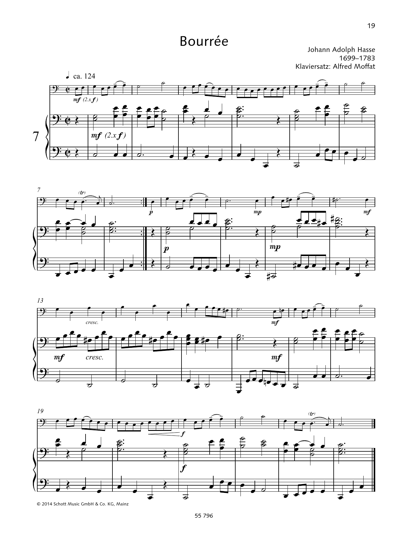 Johann Adolph Hasse Bourree sheet music preview music notes and score for Woodwind Solo including 2 page(s)