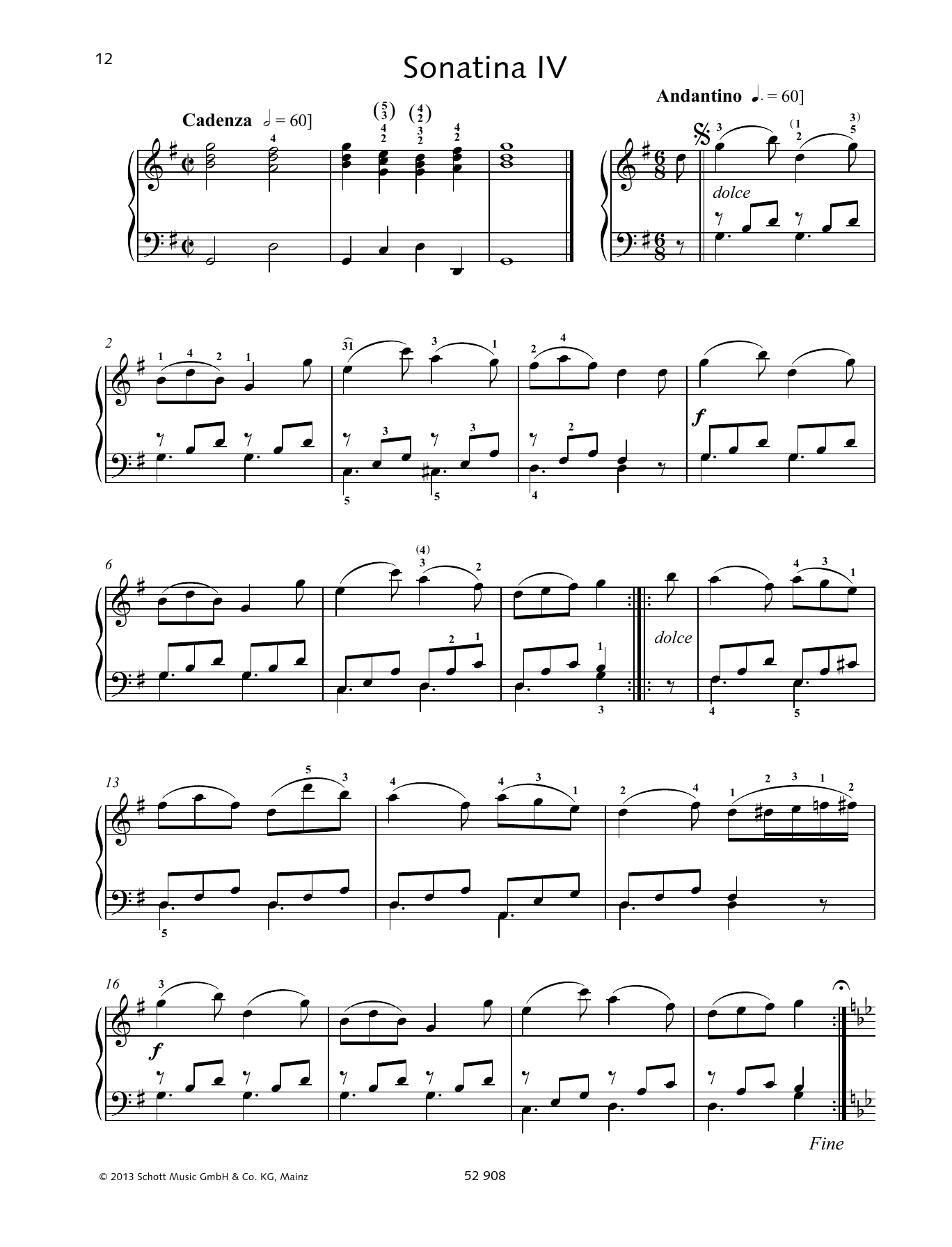 Johann Baptist Vanhal Sonatina IV sheet music preview music notes and score for Piano Solo including 4 page(s)