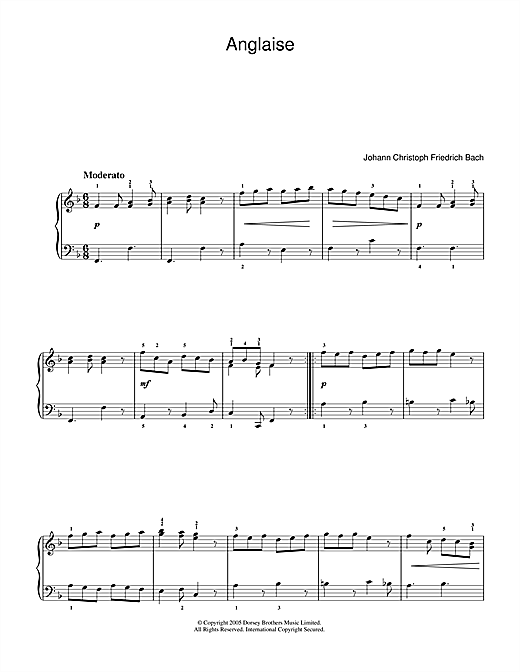 Download Johann Christoph Friedrich Bach 'Anglaise' Digital Sheet Music Notes & Chords and start playing in minutes