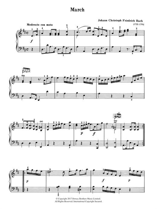 Johann Christoph Friedrich Bach March sheet music notes and chords