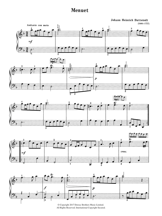 Download Johann Heinrich Buttstedt 'Menuet' Digital Sheet Music Notes & Chords and start playing in minutes