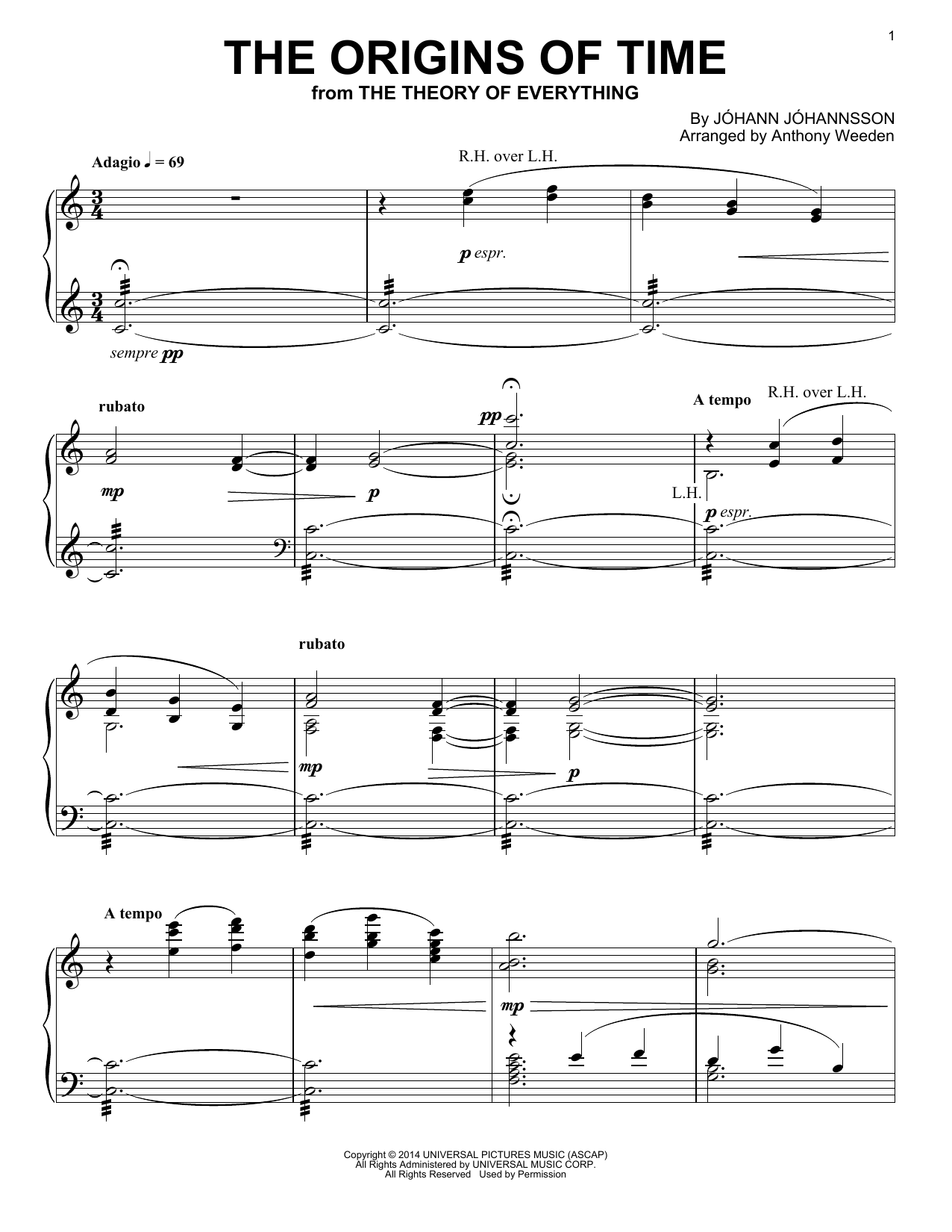 Johann Johannsson The Origins Of Time (from 'The Theory of Everything') sheet music preview music notes and score for Piano including 3 page(s)