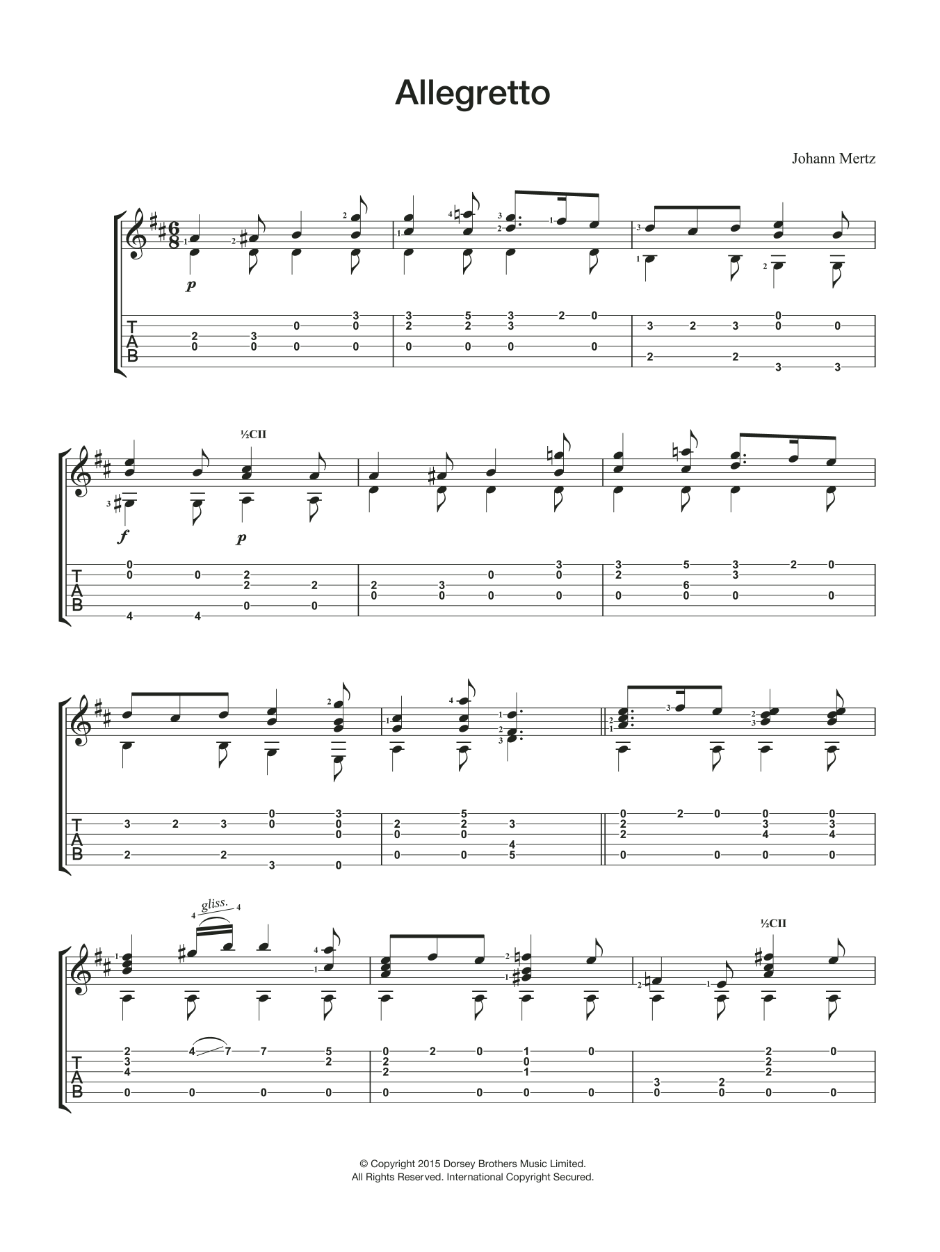Johann Kaspar Mertz Allegretto sheet music preview music notes and score for Guitar including 2 page(s)
