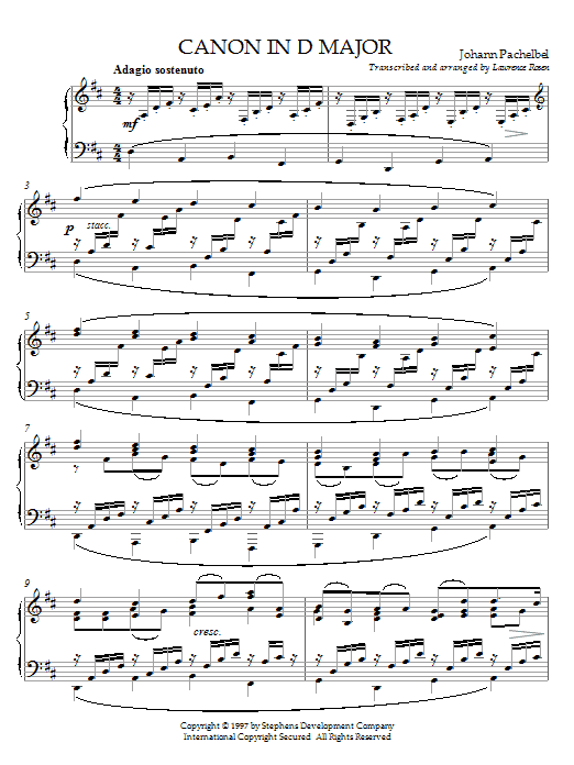 Johann Pachelbel Canon In D sheet music preview music notes and score for Piano (Big Notes) including 4 page(s)