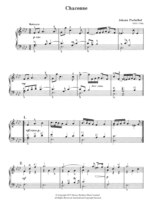 Download Johann Pachelbel 'Chaconne' Digital Sheet Music Notes & Chords and start playing in minutes