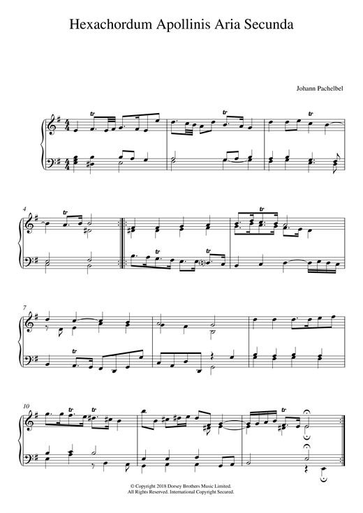 Download Johann Pachelbel 'Hexachordum Apollinis: Aria Secunda' Digital Sheet Music Notes & Chords and start playing in minutes