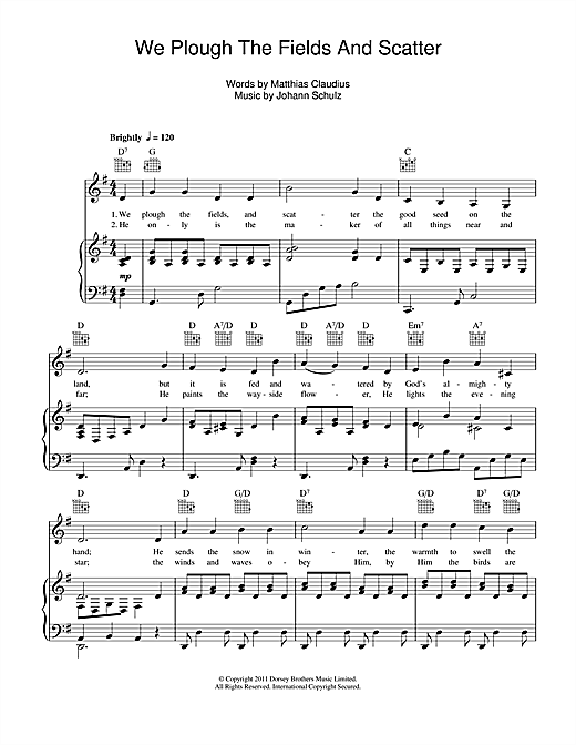 Johann Schulz We Plough The Fields And Scatter sheet music notes and chords