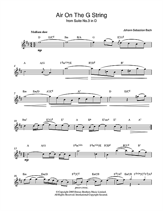 Download J.S. Bach 'Air On The G String (from Suite No.3 in D Major)' Digital Sheet Music Notes & Chords and start playing in minutes
