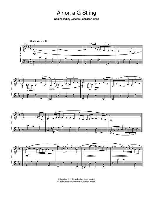J.S. Bach Air On The G String (from Suite No.3 in D Major) sheet music preview music notes and score for Piano including 2 page(s)