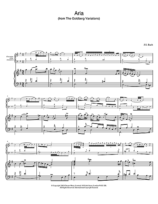 Download J.S. Bach 'Aria (from The Goldberg Variations)' Digital Sheet Music Notes & Chords and start playing in minutes