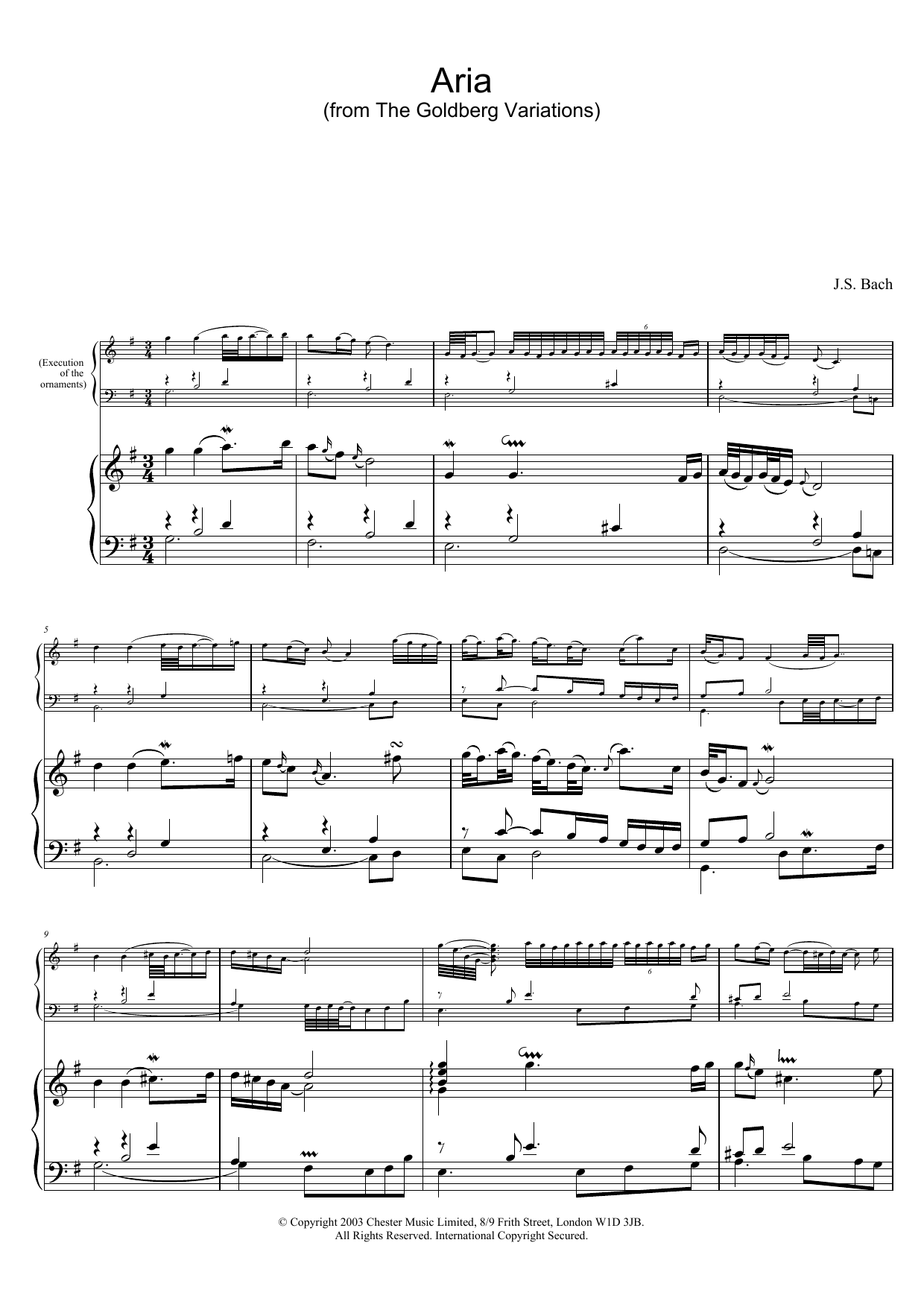 J.S. Bach Aria (from The Goldberg Variations) sheet music preview music notes and score for Piano including 3 page(s)