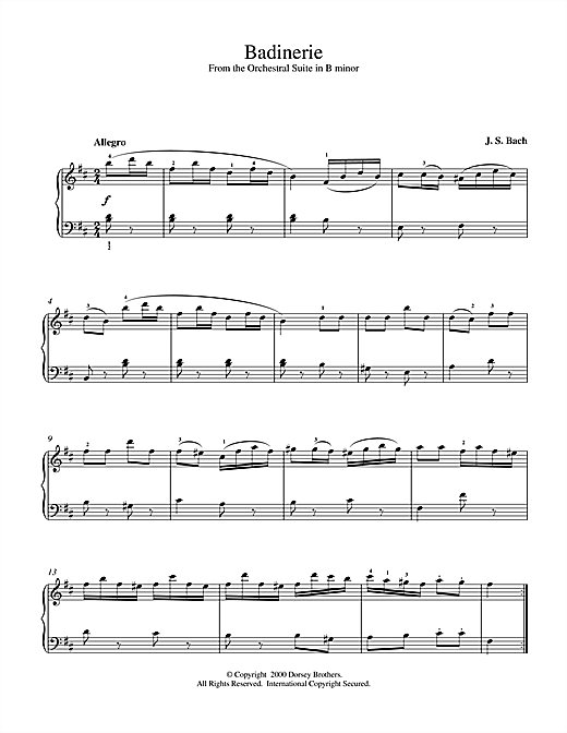 Download J.S. Bach 'Badinerie (from Orchestral Suite No. 2 in B Minor)' Digital Sheet Music Notes & Chords and start playing in minutes