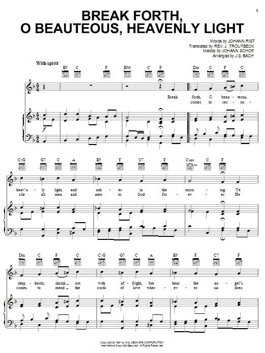 Download J.S. Bach 'Break Forth, O Beauteous, Heavenly Light' Digital Sheet Music Notes & Chords and start playing in minutes