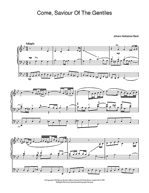 J.S. Bach Come, Saviour Of The Gentiles sheet music notes and chords