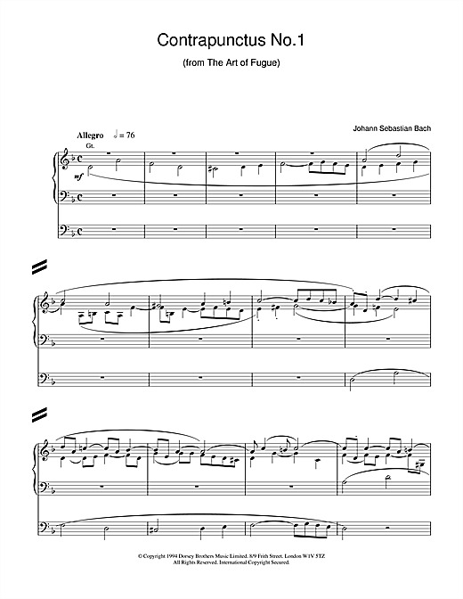 J.S. Bach Contrapunctus No.1 from The Art of Fugue sheet music notes and chords