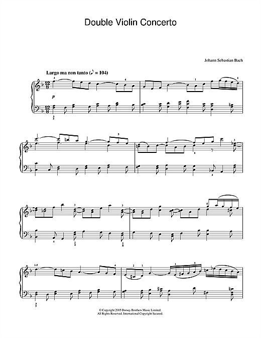 Download J.S. Bach 'Double Violin Concerto, 2nd Movement' Digital Sheet Music Notes & Chords and start playing in minutes