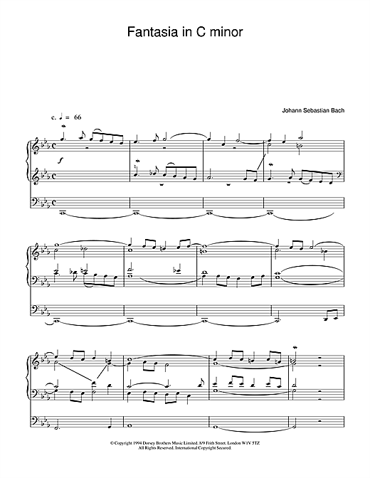 J.S. Bach Fantasia and Fugue in C Minor, BWV 537 sheet music notes and chords