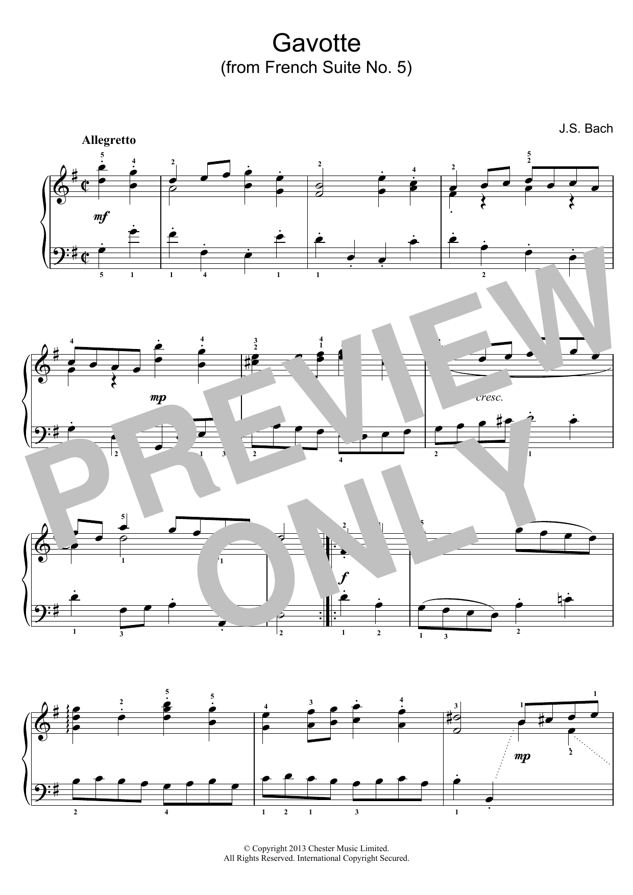 J.S. Bach Gavotte (from French Suite No. 5) sheet music preview music notes and score for Piano including 2 page(s)