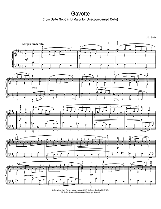Download J.S. Bach 'Gavotte (from Suite No. 6 in D Major for Unaccompanied Cello)' Digital Sheet Music Notes & Chords and start playing in minutes