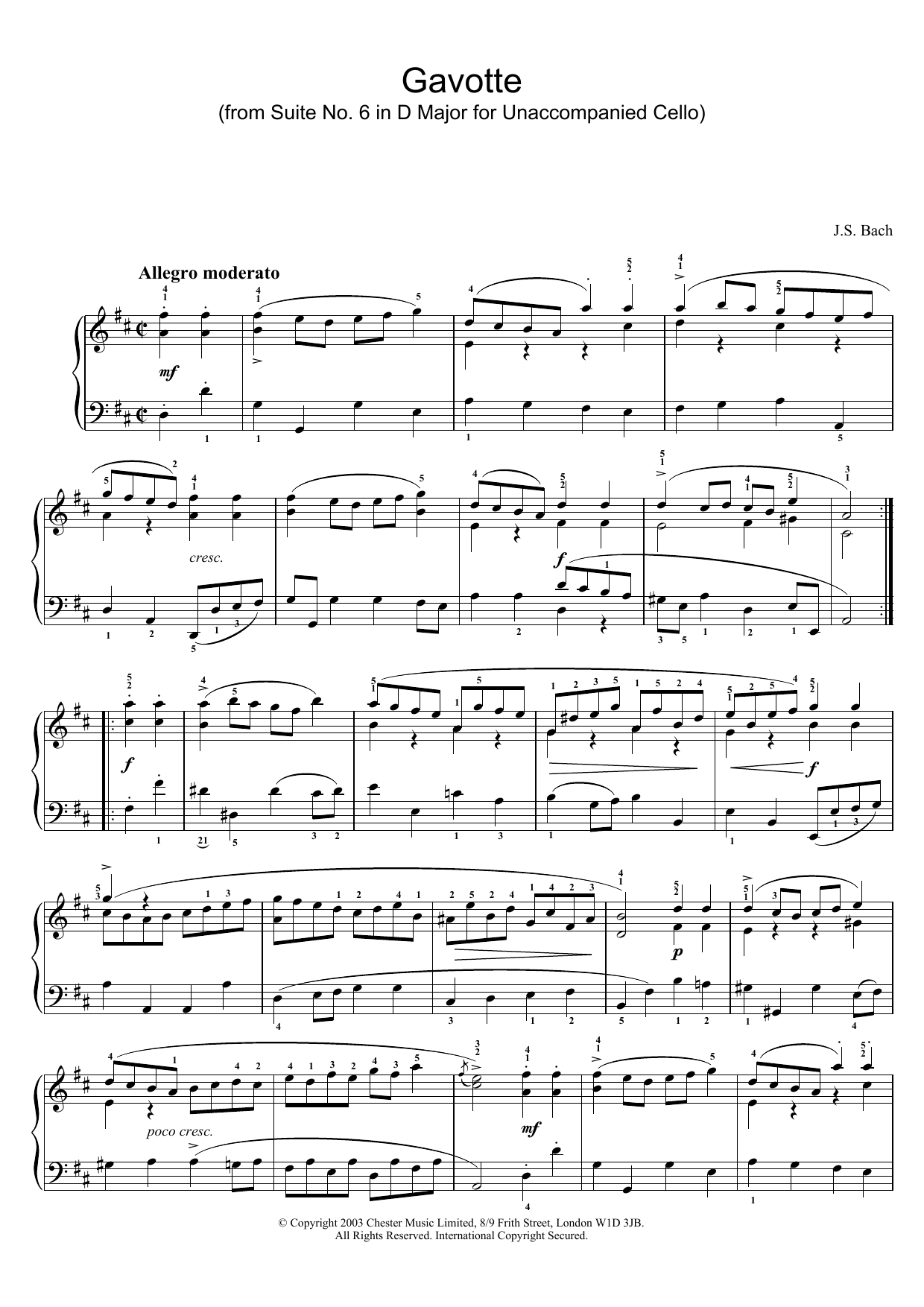 J.S. Bach Gavotte (from Suite No. 6 in D Major for Unaccompanied Cello) sheet music preview music notes and score for Piano including 2 page(s)