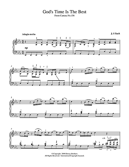 Download J.S. Bach 'God's Time Is The Best' Digital Sheet Music Notes & Chords and start playing in minutes