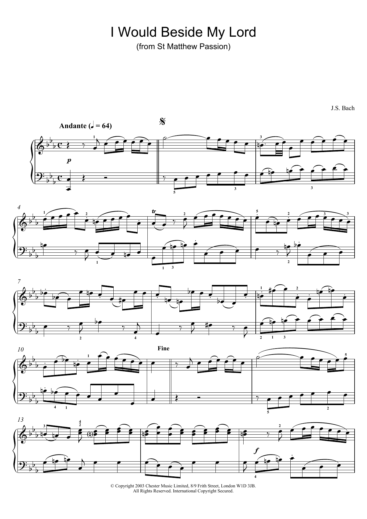 J.S. Bach I Would Beside My Lord (from St Matthew Passion) sheet music preview music notes and score for Piano including 4 page(s)