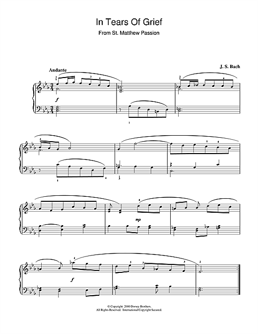 Download J.S. Bach 'In Tears Of Grief (from St Matthew Passion)' Digital Sheet Music Notes & Chords and start playing in minutes