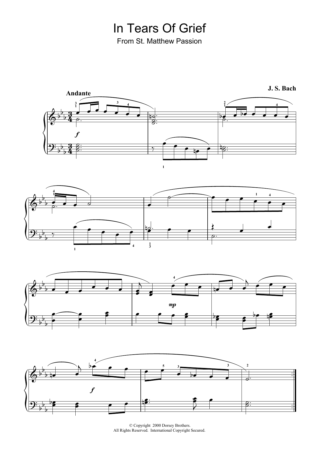 J.S. Bach In Tears Of Grief (from St Matthew Passion) sheet music preview music notes and score for Piano including 2 page(s)