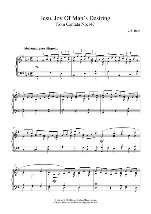 J.S. Bach Jesu, Joy Of Man's Desiring (from Cantata 147) sheet music notes and chords