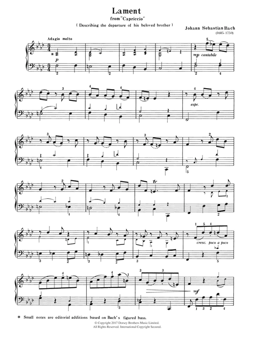 Download J.S. Bach 'Lament (from Capriccio)' Digital Sheet Music Notes & Chords and start playing in minutes