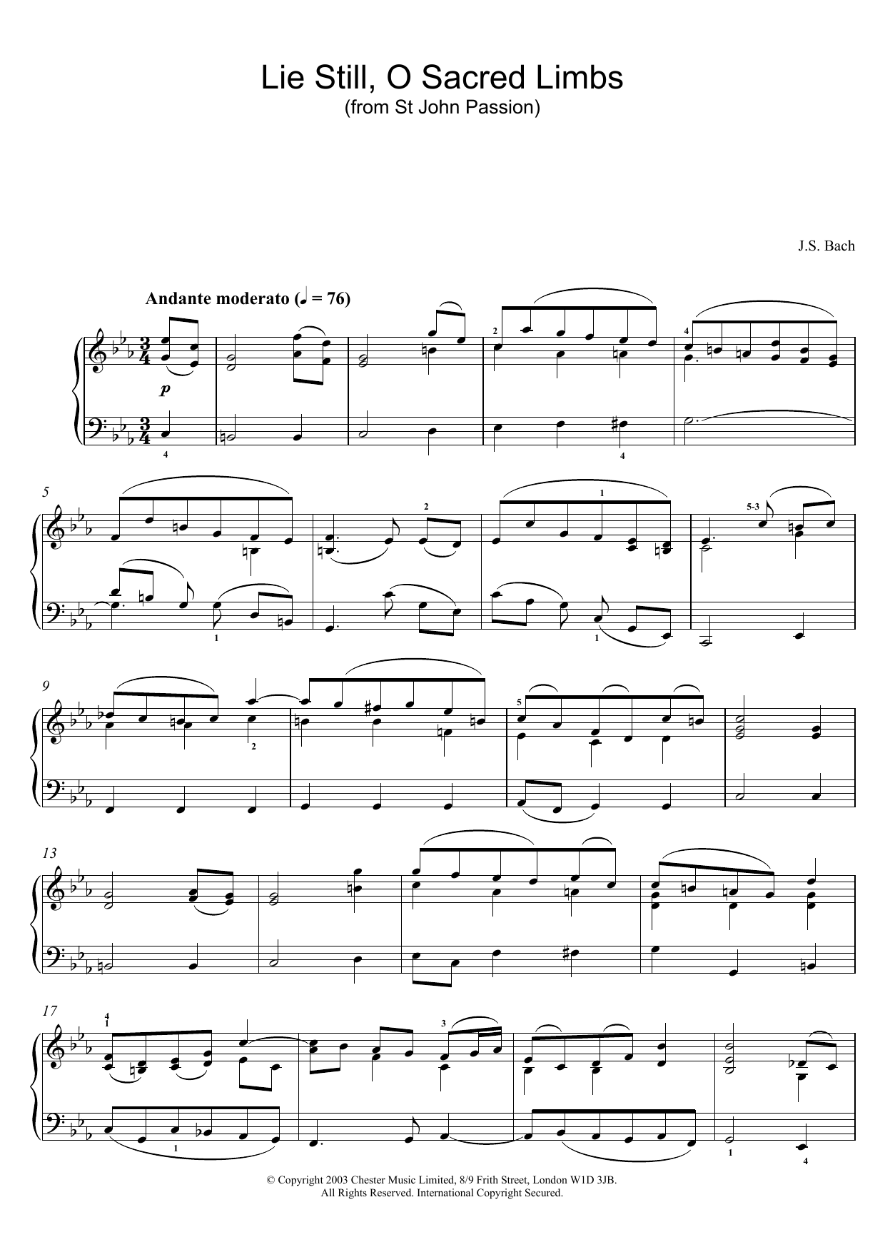 J.S. Bach Lie Still, O Sacred Limbs (from St John Passion) sheet music preview music notes and score for Piano including 2 page(s)