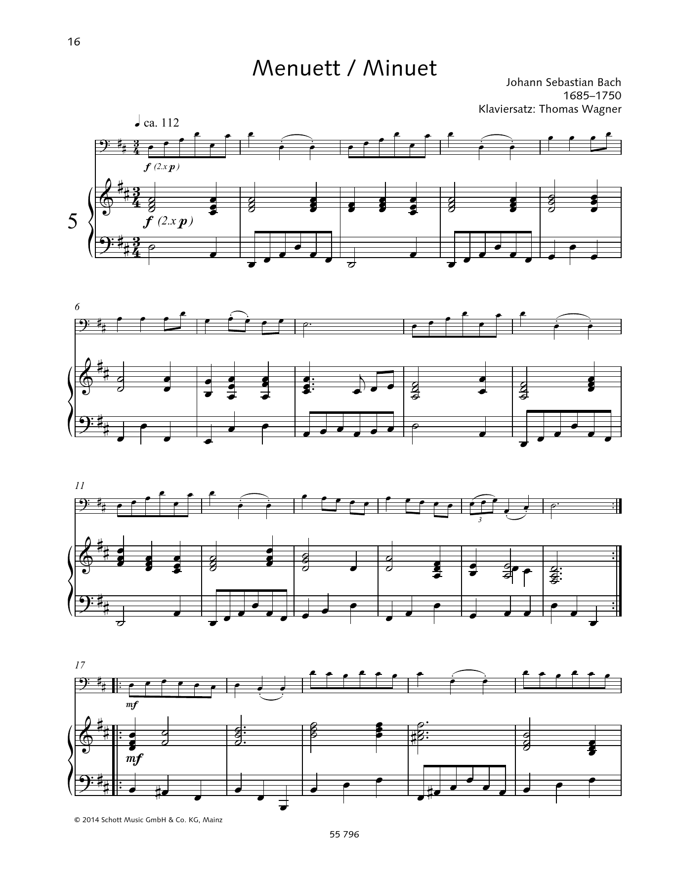 Johann Sebastian Bach Minuet sheet music preview music notes and score for String Solo including 3 page(s)