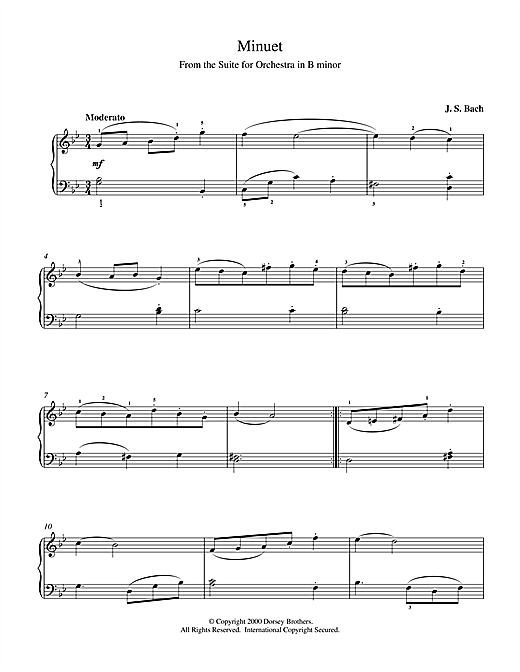 J.S. Bach Minuet (from Orchestral Suite No. 2 in B Minor) sheet music notes and chords