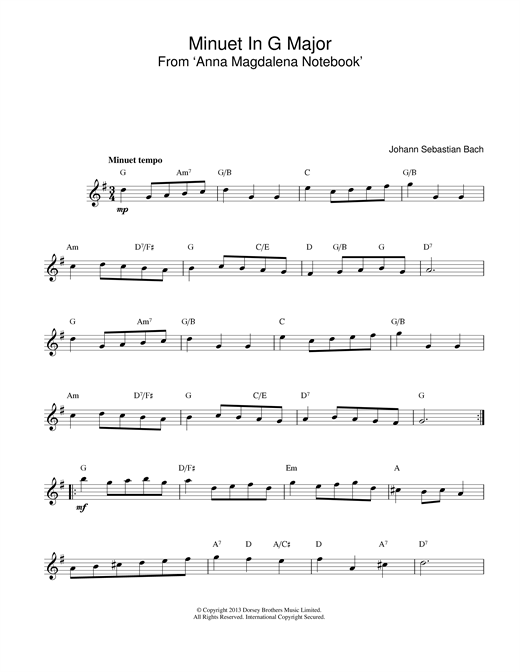 J.S. Bach Minuet In G sheet music preview music notes and score for Easy Guitar Tab including 2 page(s)
