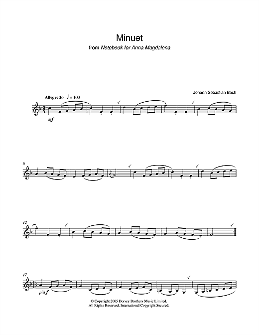 Download J.S. Bach 'Minuet from Notebook For Anna Magdalena' Digital Sheet Music Notes & Chords and start playing in minutes