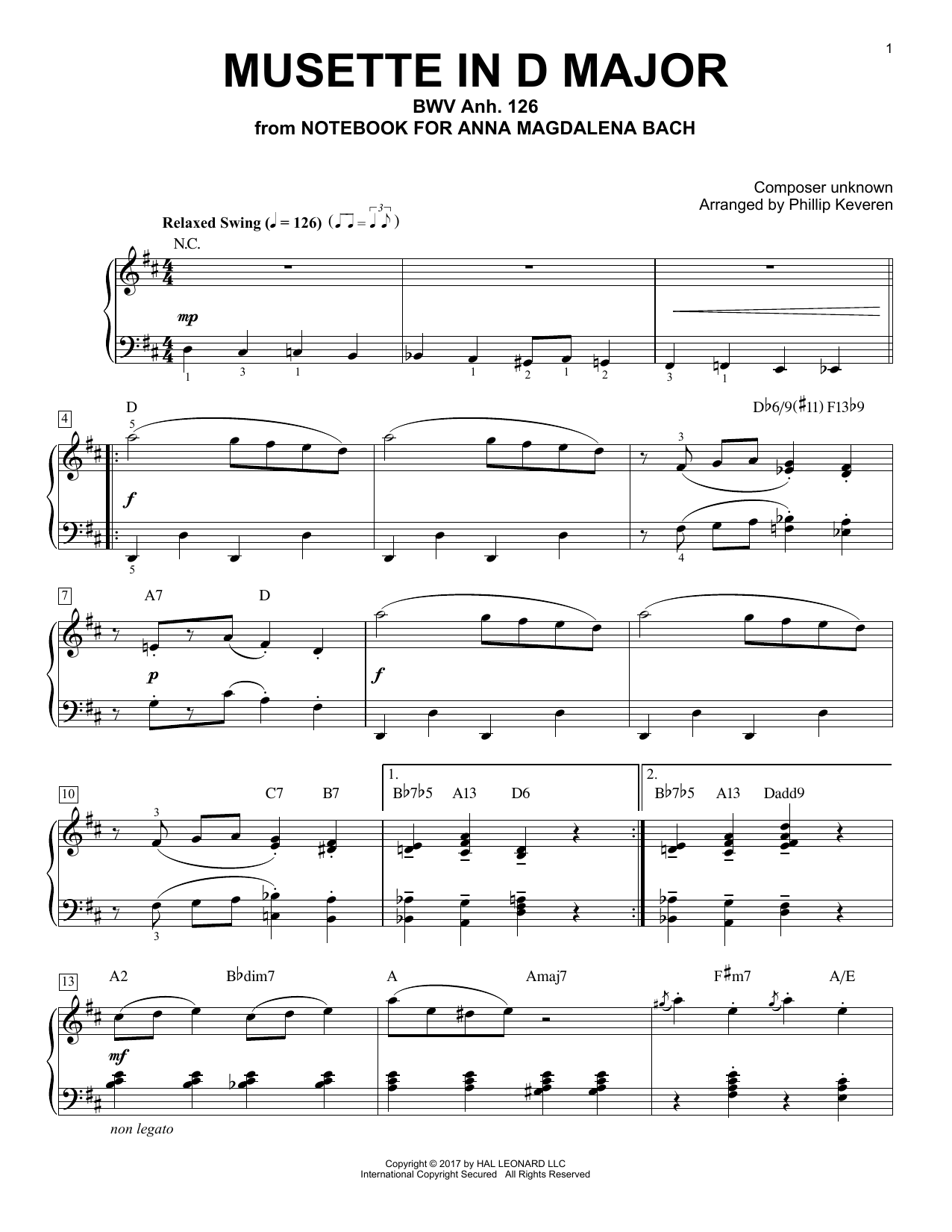 Download Phillip Keveren 'Musette In D Major, BWV Anh. 126' Digital Sheet Music Notes & Chords and start playing in minutes