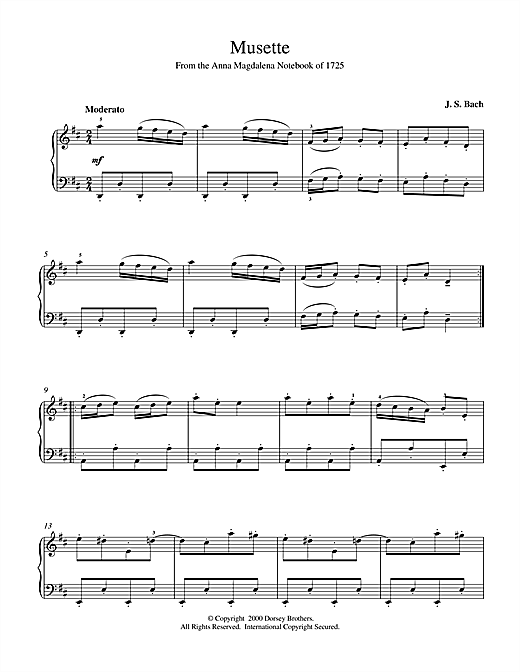 Download J.S. Bach 'Musette In D Major, BWV App. 126' Digital Sheet Music Notes & Chords and start playing in minutes