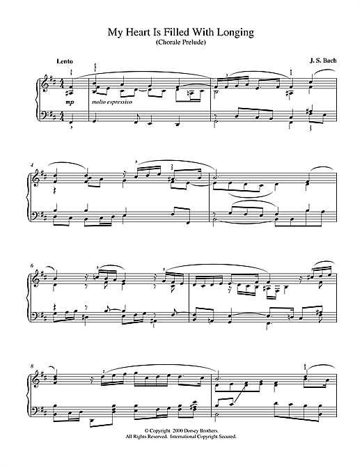 Download J.S. Bach 'My Heart Is Filled With Longing' Digital Sheet Music Notes & Chords and start playing in minutes